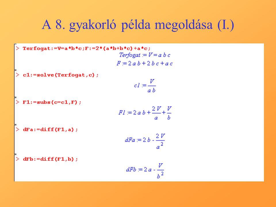 A 8. gyakorló példa megoldása (I.)