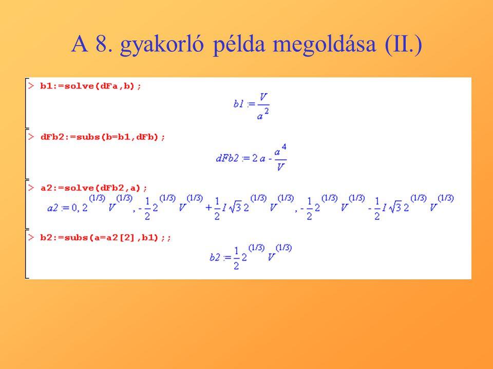 A 8. gyakorló példa megoldása (II.)