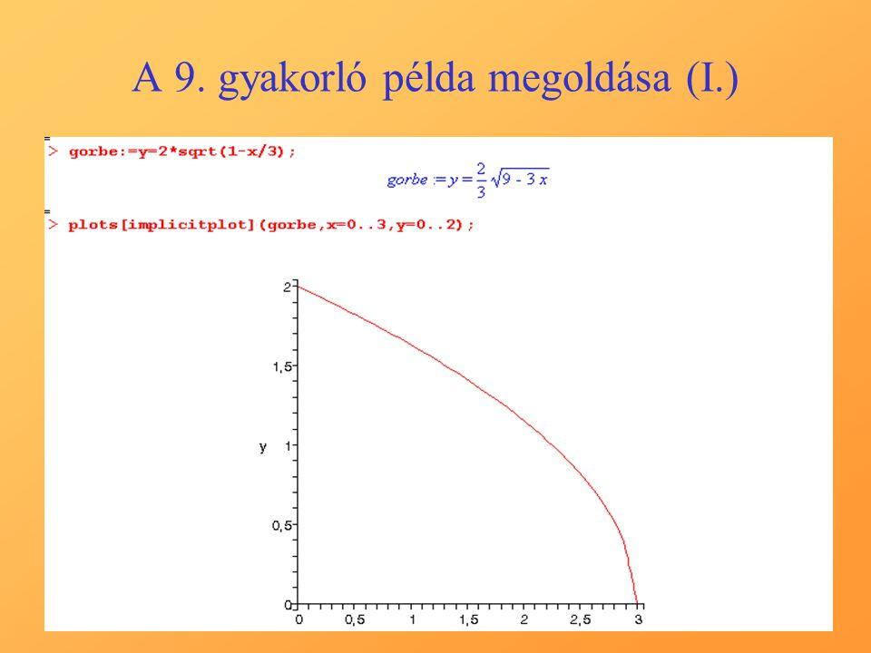 A 9. gyakorló példa megoldása (I.)