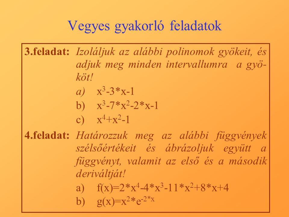 Vegyes gyakorló feladatok 3.feladat:Izoláljuk az alábbi polinomok gyökeit, és adjuk meg minden intervallumra a gyö- köt.
