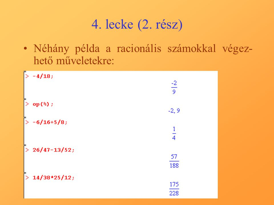 A 9. gyakorló példa megoldása (II.)