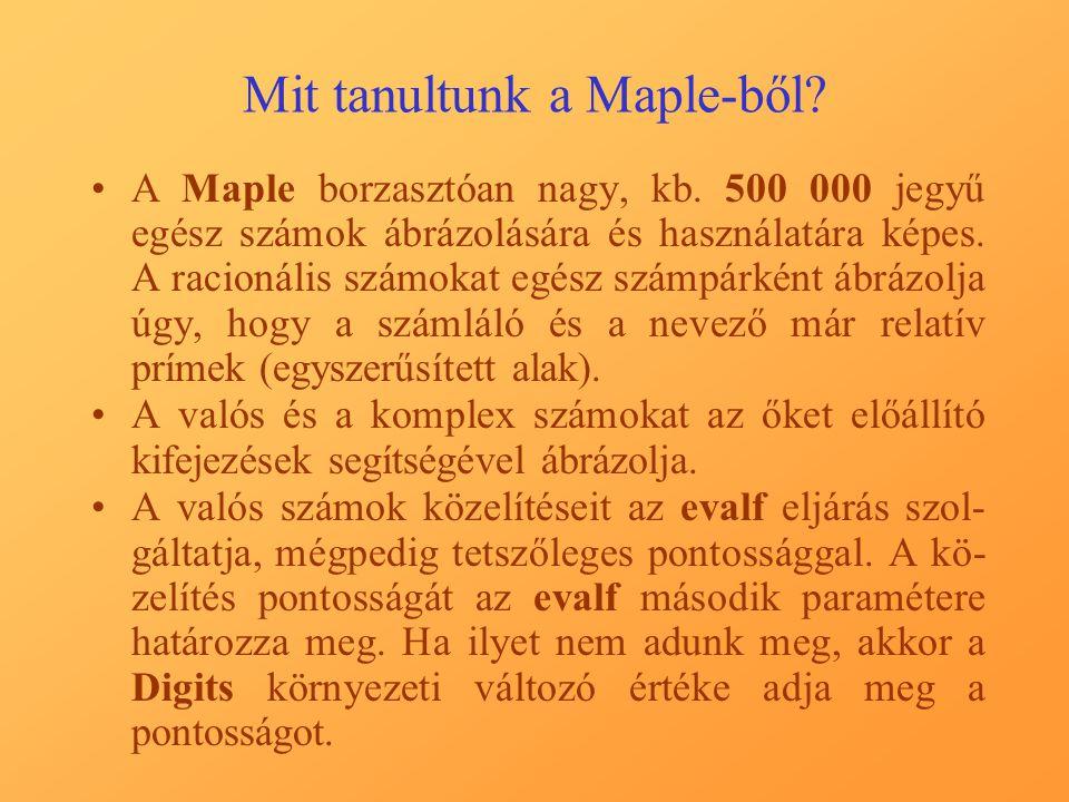 Mit tanultunk a Maple-ből. A Maple borzasztóan nagy, kb.