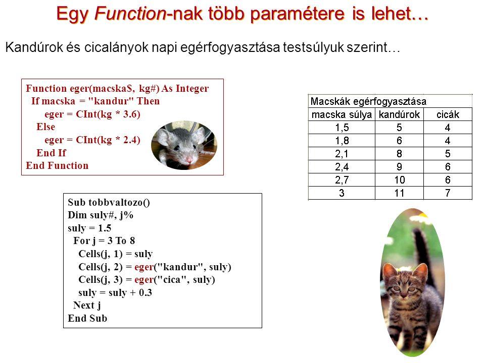 Egy Function-nak több paramétere is lehet… Sub tobbvaltozo() Dim suly#, j% suly = 1.5 For j = 3 To 8 Cells(j, 1) = suly Cells(j, 2) = eger( kandur , suly) Cells(j, 3) = eger( cica , suly) suly = suly + 0.3 Next j End Sub Function eger(macska$, kg#) As Integer If macska = kandur Then eger = CInt(kg * 3.6) Else eger = CInt(kg * 2.4) End If End Function Kandúrok és cicalányok napi egérfogyasztása testsúlyuk szerint…