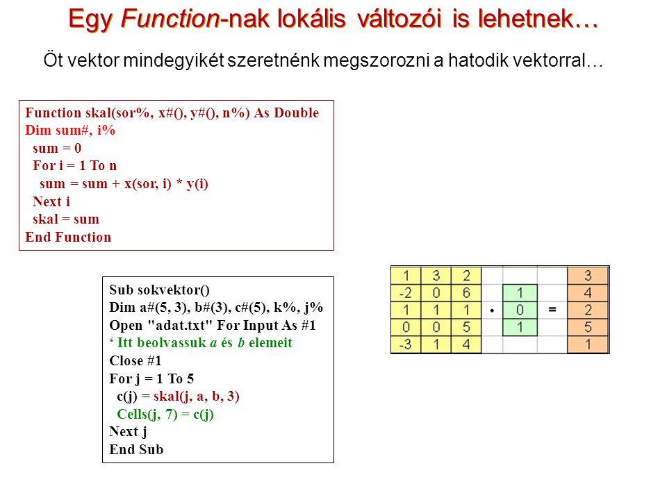 Egy Function-nak lokális változói is lehetnek… Öt vektor mindegyikét szeretnénk megszorozni a hatodik vektorral… Sub sokvektor() Dim a#(5, 3), b#(3), c#(5), k%, j% Open adat.txt For Input As #1 ' Itt beolvassuk a és b elemeit Close #1 For j = 1 To 5 c(j) = skal(j, a, b, 3) Cells(j, 7) = c(j) Next j End Sub Function skal(sor%, x#(), y#(), n%) As Double Dim sum#, i% sum = 0 For i = 1 To n sum = sum + x(sor, i) * y(i) Next i skal = sum End Function