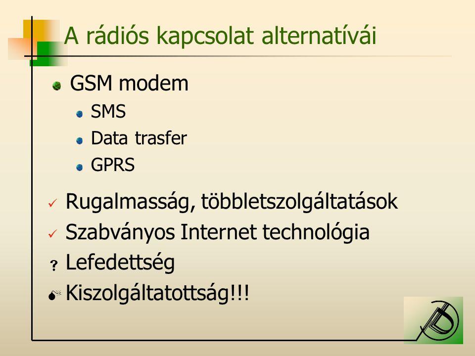 A rádiós kapcsolat alternatívái GSM modem SMS Data trasfer GPRS Rugalmasság, többletszolgáltatások Szabványos Internet technológia  Lefedettség  Kiszolgáltatottság!!!