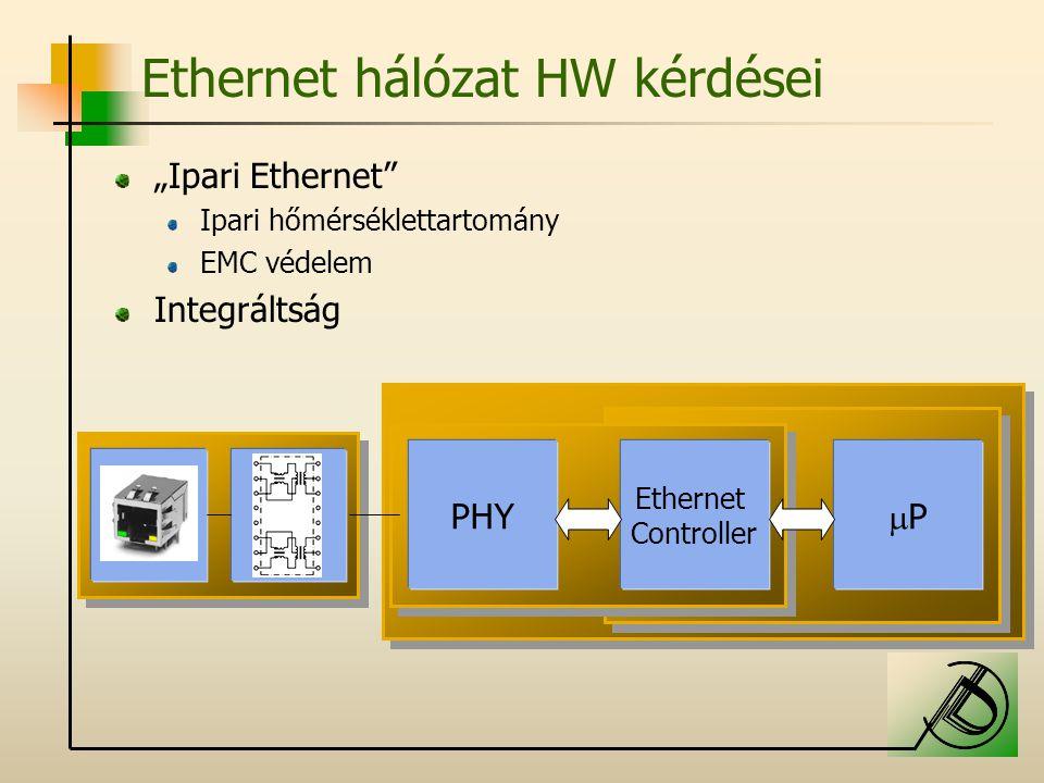 """Ethernet hálózat HW kérdései """"Ipari Ethernet Ipari hőmérséklettartomány EMC védelem Integráltság PP Ethernet Controller PHY"""