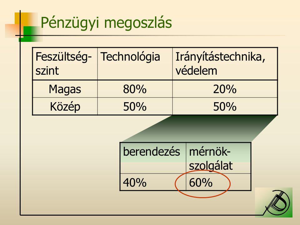 Pénzügyi megoszlás Feszültség- szint TechnológiaIrányítástechnika, védelem Magas80%20% Közép50% berendezésmérnök- szolgálat 40%60%