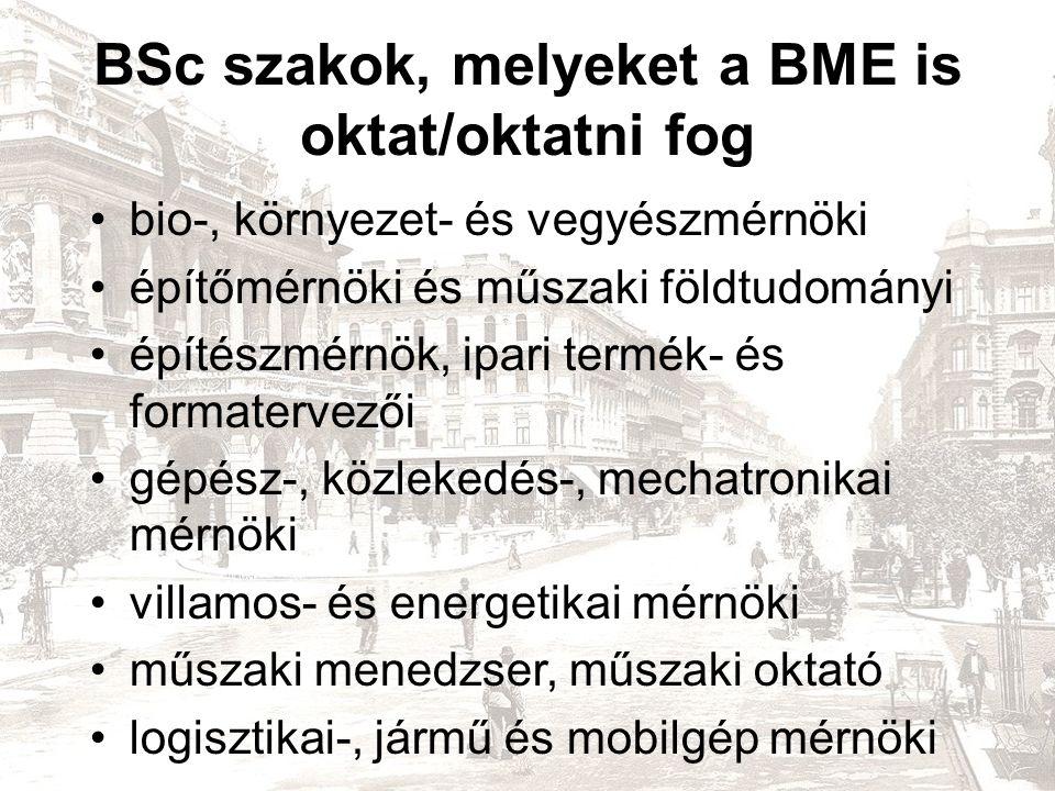 BSc szakok, melyeket a BME is oktat/oktatni fog bio-, környezet- és vegyészmérnöki építőmérnöki és műszaki földtudományi építészmérnök, ipari termék- és formatervezői gépész-, közlekedés-, mechatronikai mérnöki villamos- és energetikai mérnöki műszaki menedzser, műszaki oktató logisztikai-, jármű és mobilgép mérnöki