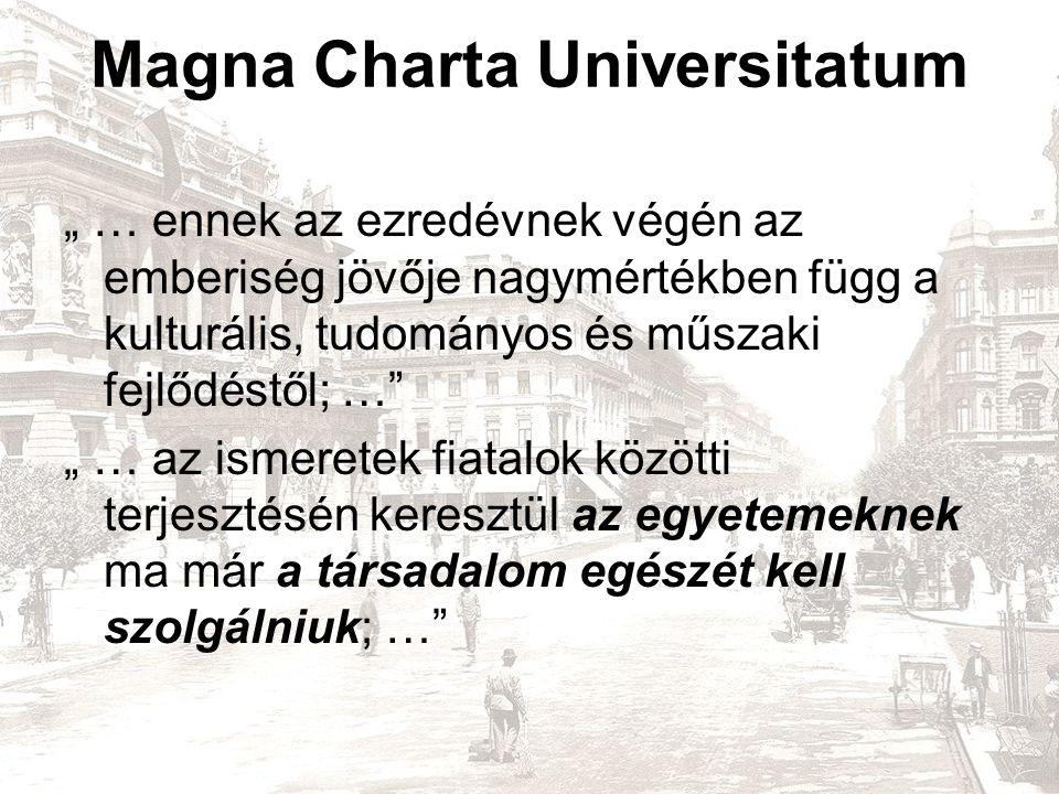 """Magna Charta Universitatum """" … ennek az ezredévnek végén az emberiség jövője nagymértékben függ a kulturális, tudományos és műszaki fejlődéstől; … """" … az ismeretek fiatalok közötti terjesztésén keresztül az egyetemeknek ma már a társadalom egészét kell szolgálniuk; …"""