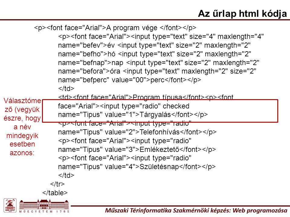 A program vége <input type=