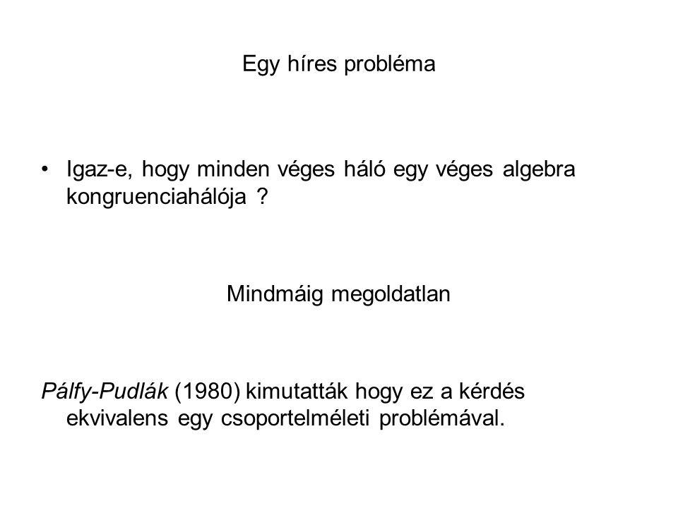 Egy híres probléma Igaz-e, hogy minden véges háló egy véges algebra kongruenciahálója .