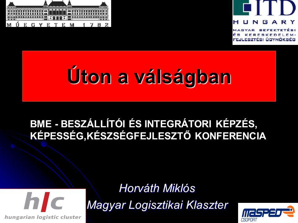 Úton a válságban Horváth Miklós Magyar Logisztikai Klaszter BME - BESZÁLLÍTÓI ÉS INTEGRÁTORI KÉPZÉS, KÉPESSÉG,KÉSZSÉGFEJLESZTŐ KONFERENCIA