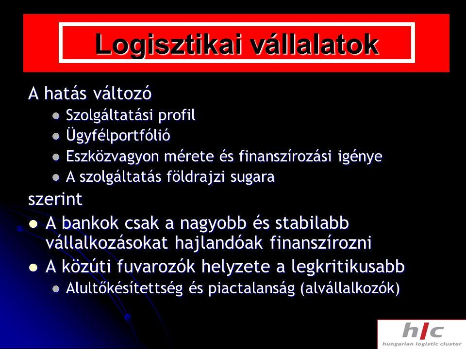 Logisztikai vállalatok A hatás változó Szolgáltatási profil Szolgáltatási profil Ügyfélportfólió Ügyfélportfólió Eszközvagyon mérete és finanszírozási