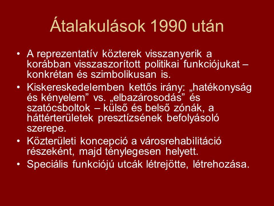 Átalakulások 1990 után A reprezentatív közterek visszanyerik a korábban visszaszorított politikai funkciójukat – konkrétan és szimbolikusan is.