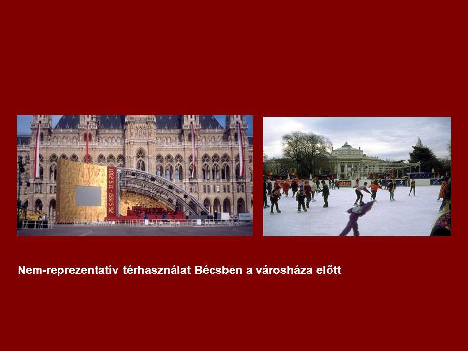 Nem-reprezentatív térhasználat Bécsben a városháza előtt