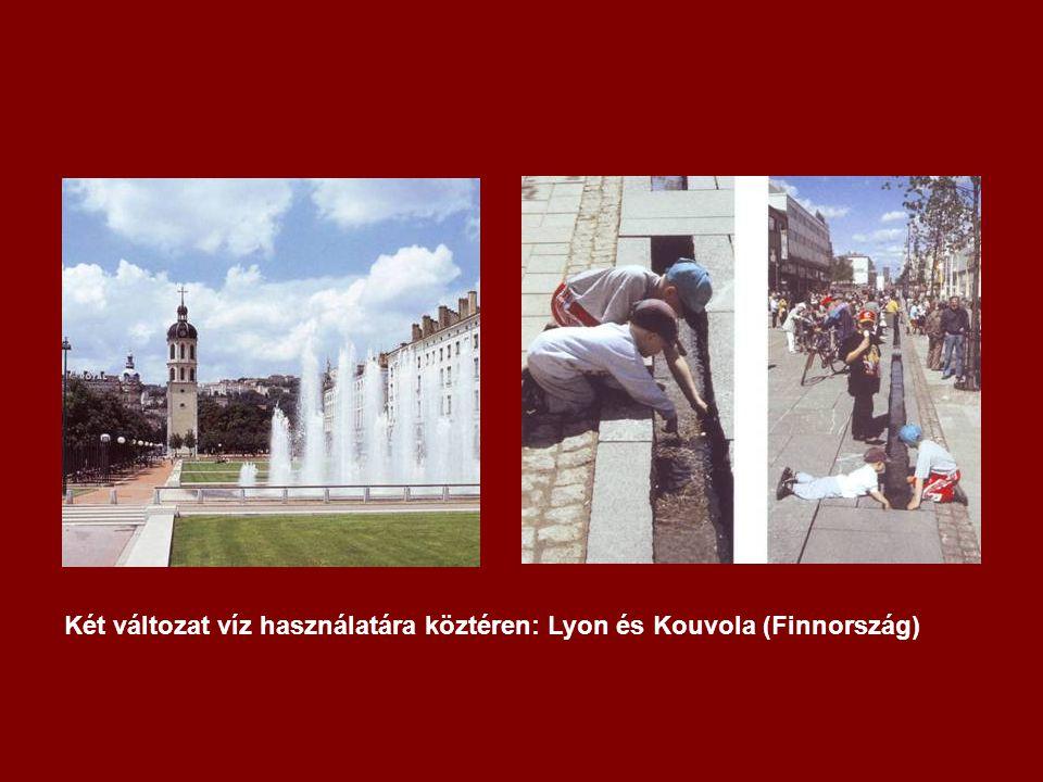 Két változat víz használatára köztéren: Lyon és Kouvola (Finnország)