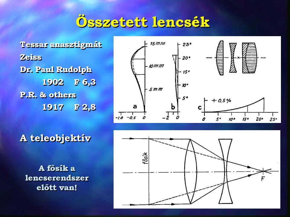 Összetett lencsék Tessar anasztigmát Zeiss Dr. Paul Rudolph 1902 F 6,3 P.R. & others 1917 F 2,8 Tessar anasztigmát Zeiss Dr. Paul Rudolph 1902 F 6,3 P