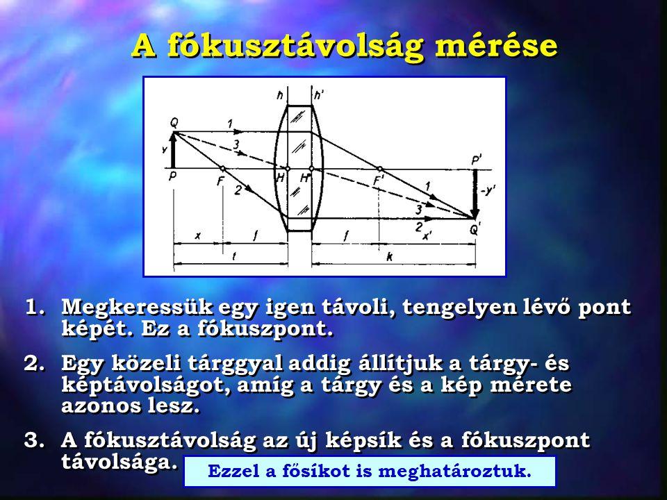 A fókusztávolság mérése 1. Megkeressük egy igen távoli, tengelyen lévő pont képét. Ez a fókuszpont. 2. Egy közeli tárggyal addig állítjuk a tárgy- és
