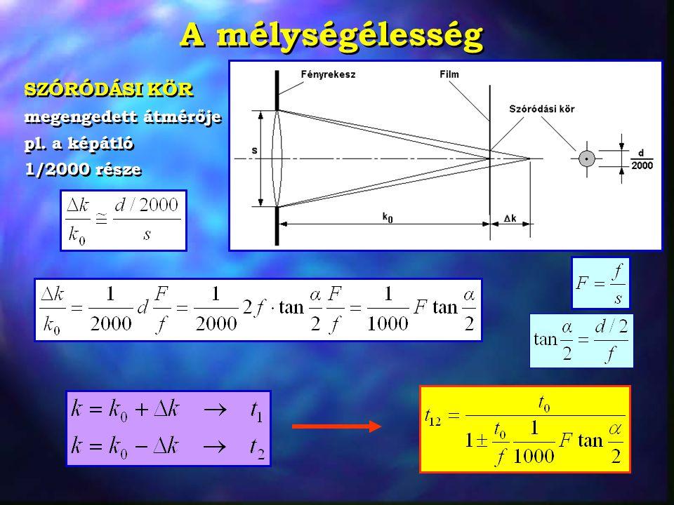 Két példa a mélységélességre Teleoptika, film méret 24  36 mm, f=200 mm, F=2,8, t 0 =10 m Eredmények:  =12,3 o, t 1 =10,15 m, t 2 =9,85 m Teleoptika, film méret 24  36 mm, f=200 mm, F=2,8, t 0 =10 m Eredmények:  =12,3 o, t 1 =10,15 m, t 2 =9,85 m Web kamera, érzékelő 6  10 mm, f=10 mm, F=5,6, t 0 =3 m, gyárilag beállítva.