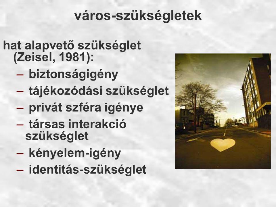 város-szükségletek hat alapvető szükséglet (Zeisel, 1981): – biztonságigény – tájékozódási szükséglet – privát szféra igénye – társas interakció szüks