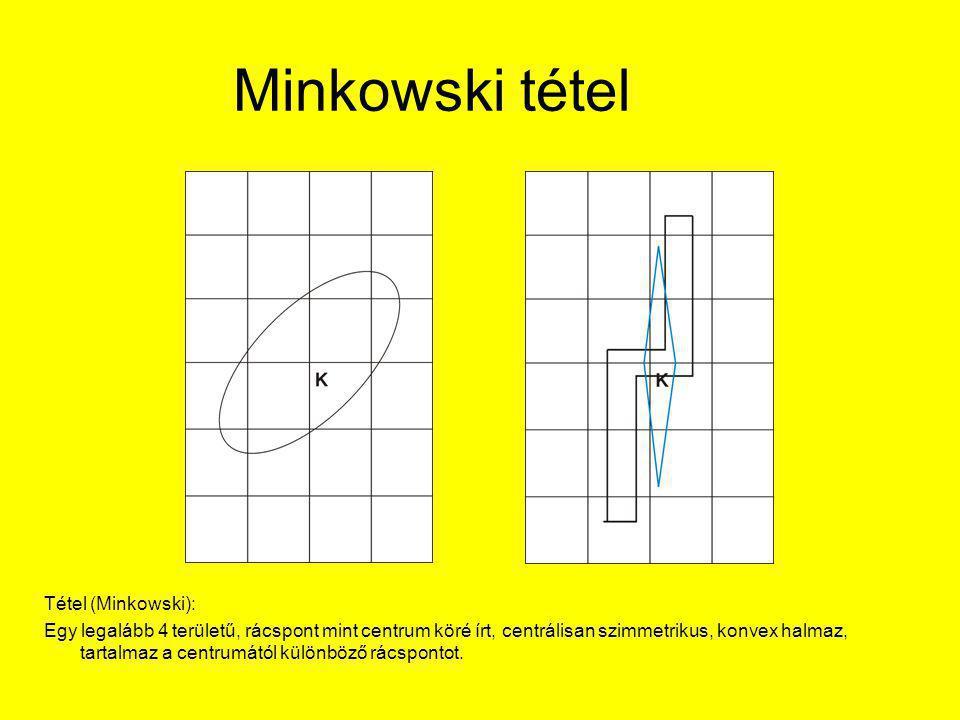 Minkowski tétel Tétel (Minkowski): Egy legalább 4 területű, rácspont mint centrum köré írt, centrálisan szimmetrikus, konvex halmaz, tartalmaz a centrumától különböző rácspontot.