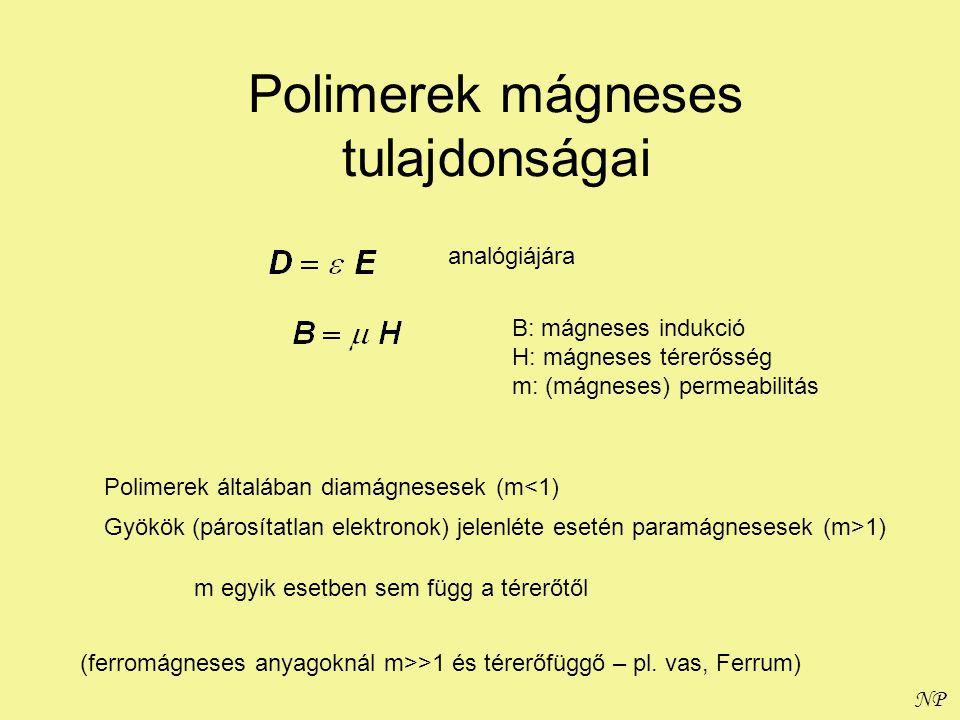 NP Polimerek mágneses tulajdonságai analógiájára B: mágneses indukció H: mágneses térerősség m: (mágneses) permeabilitás Polimerek általában diamágnes