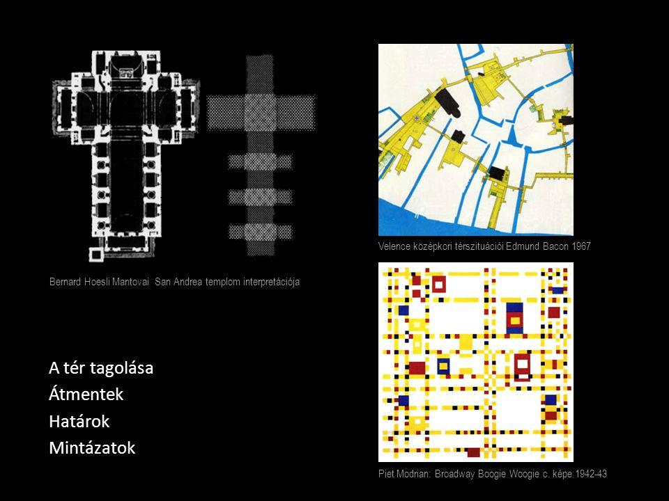 A tér tagolása Átmentek Határok Mintázatok Piet Modrian: Broadway Boogie Woogie c. képe 1942-43 Velence középkori térszituációi Edmund Bacon 1967 Bern