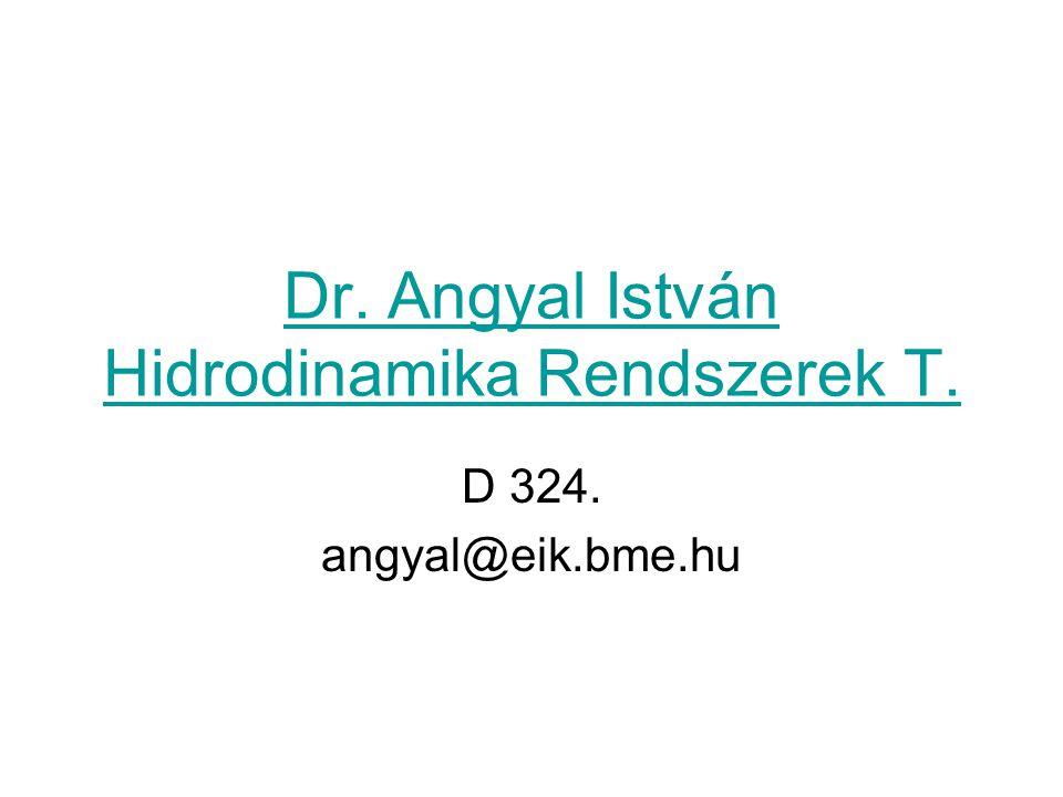 Dr. Angyal István Hidrodinamika Rendszerek T. D 324. angyal@eik.bme.hu