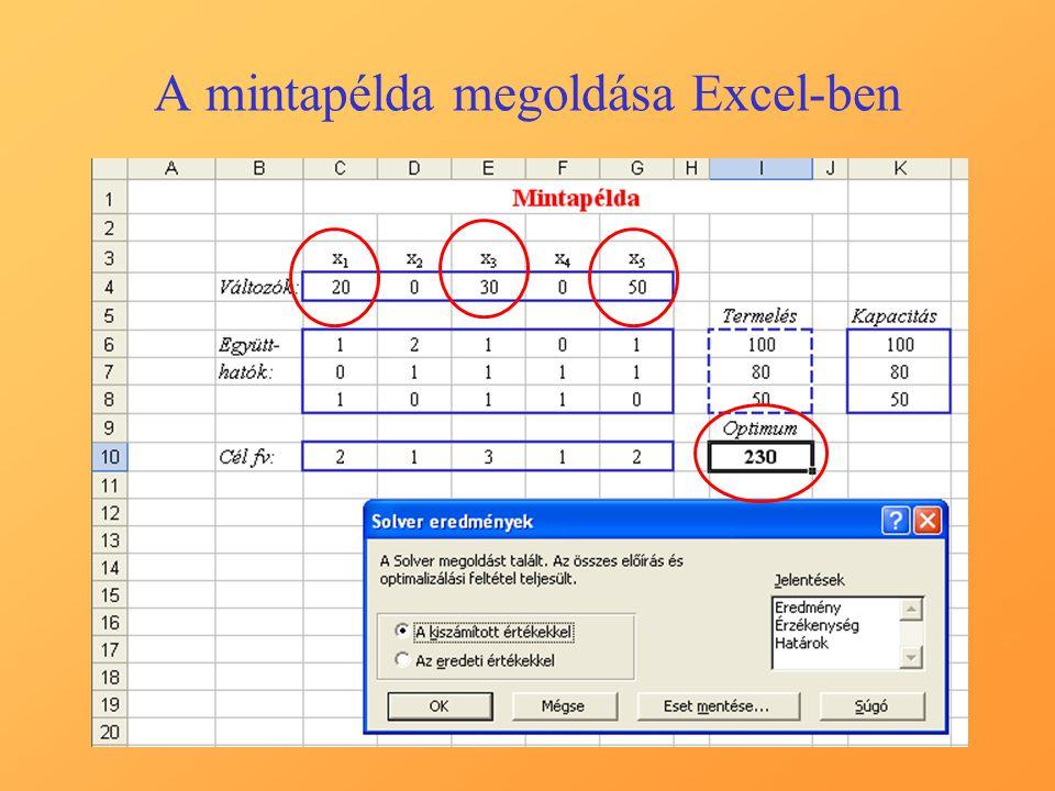 A mintapélda megoldása Excel-ben