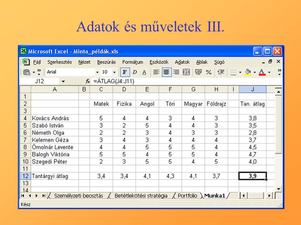 A mintapélda megoldása Excel-ben A mintapélda alapadatai: