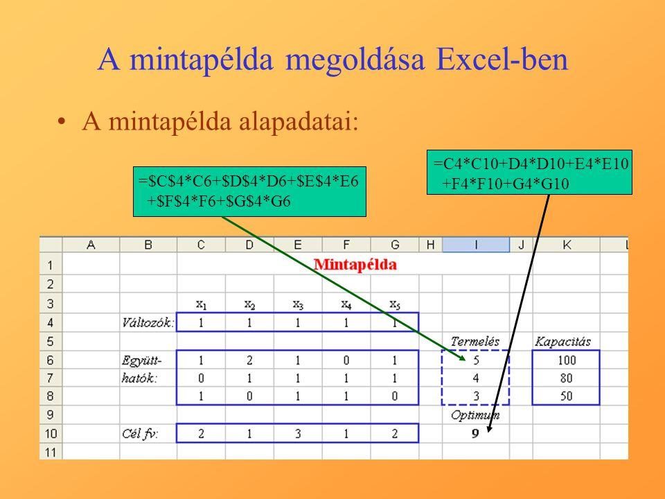 A mintapélda megoldása Excel-ben A Solver paraméterek kitöltése, kapcsolat az egyes mezők között