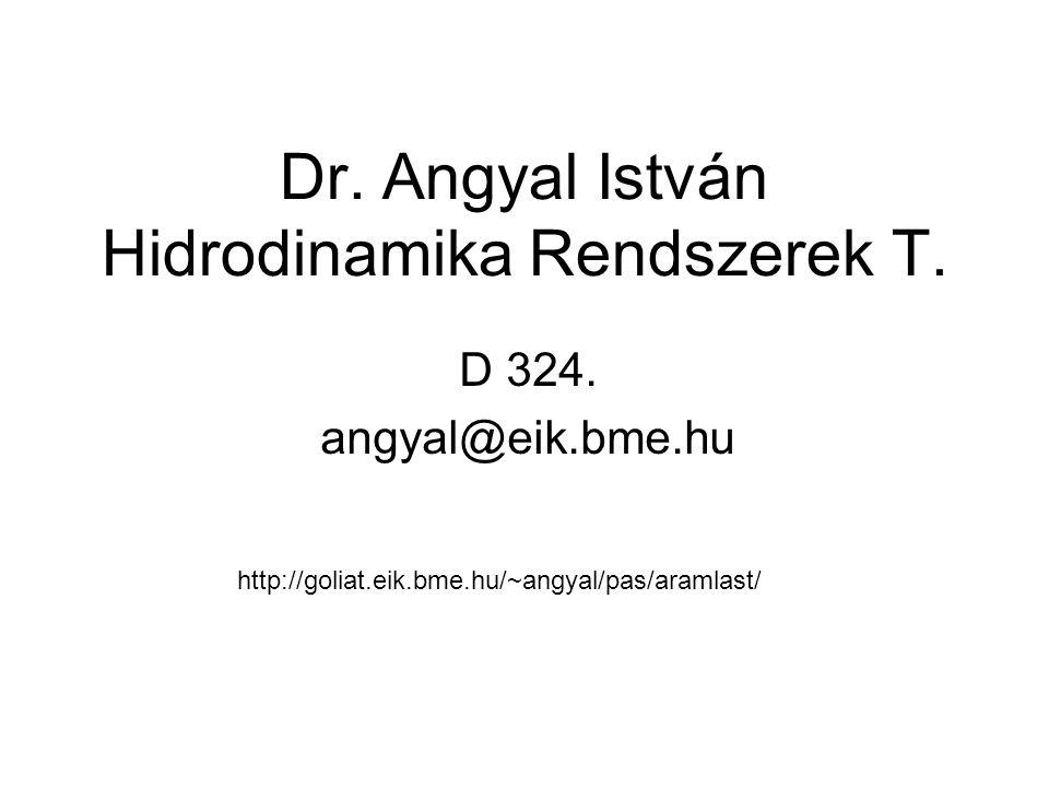 Dr. Angyal István Hidrodinamika Rendszerek T. D 324. angyal@eik.bme.hu http://goliat.eik.bme.hu/~angyal/pas/aramlast/