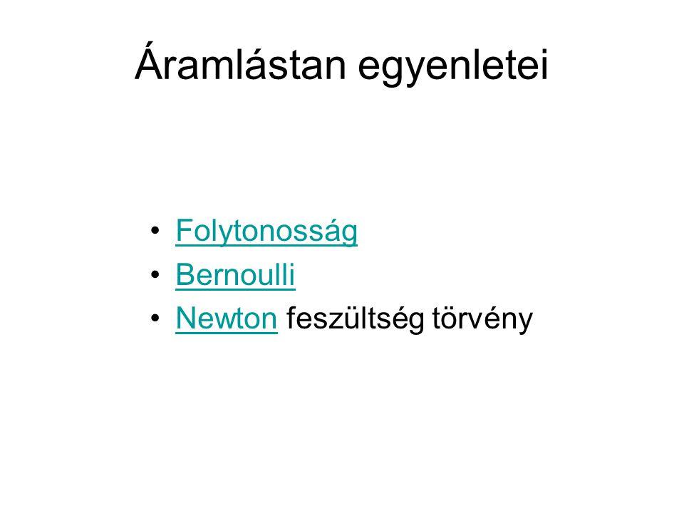 Áramlástan egyenletei Folytonosság Bernoulli Newton feszültség törvényNewton
