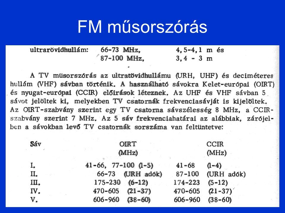 Kép és hangátvitel TV műsorszórásnál kép (videojel) - csonka oldalsávos AM-VSB moduláció hang – FM moduláció OIRT – vivőtávolság 6.5 MHz CCIR – vivőtávolság 5.5 MHz