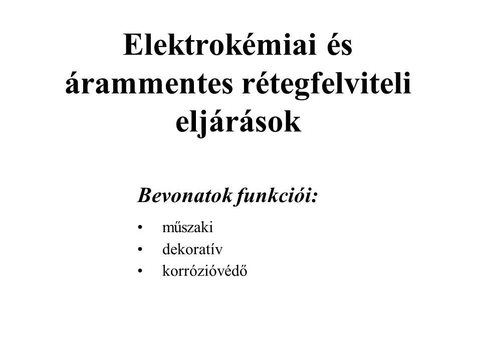 Elektrokémiai és árammentes rétegfelviteli eljárások Bevonatok funkciói: műszaki dekoratív korrózióvédő