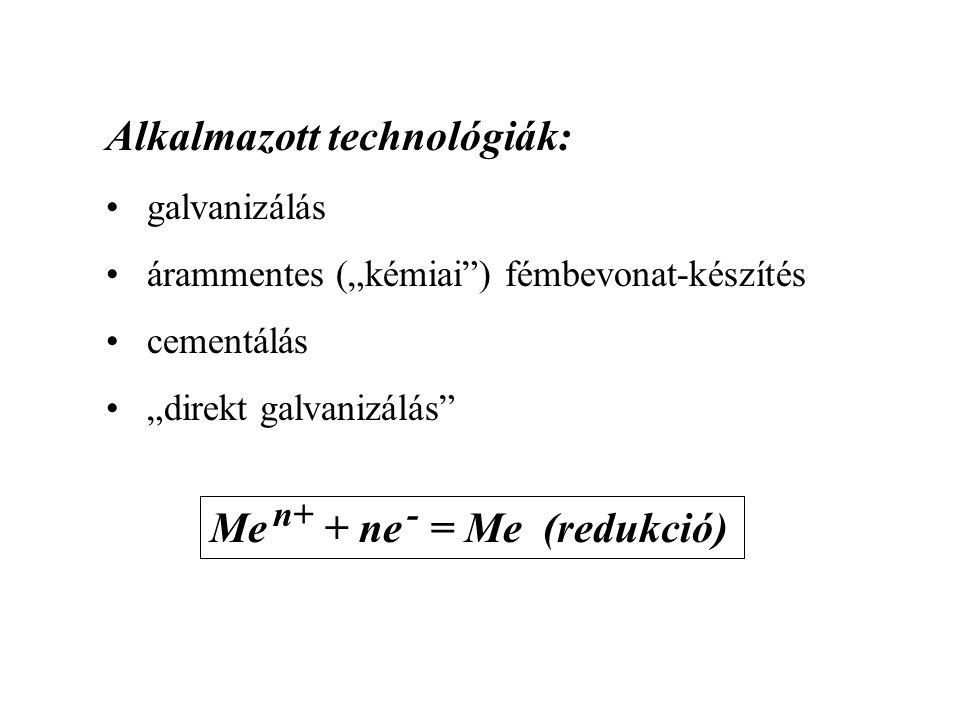 """Alkalmazott technológiák: galvanizálás árammentes (""""kémiai"""") fémbevonat-készítés cementálás """"direkt galvanizálás"""" Me n+ + ne - = Me (redukció)"""