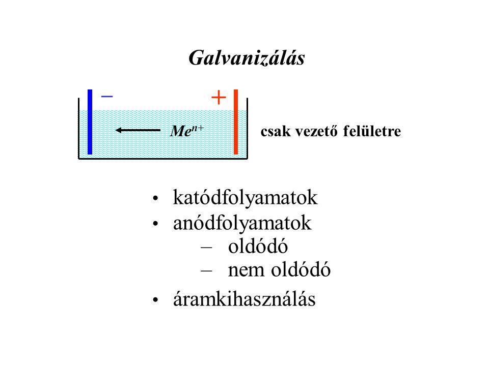 Galvanizálás _ + Me n+ csak vezető felületre katódfolyamatok anódfolyamatok – oldódó – nem oldódó áramkihasználás