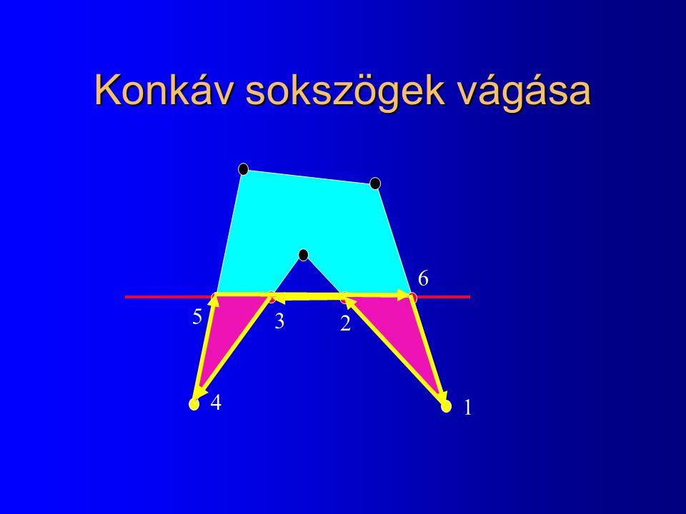 Konkáv sokszögek vágása 1 2 3 4 5 6
