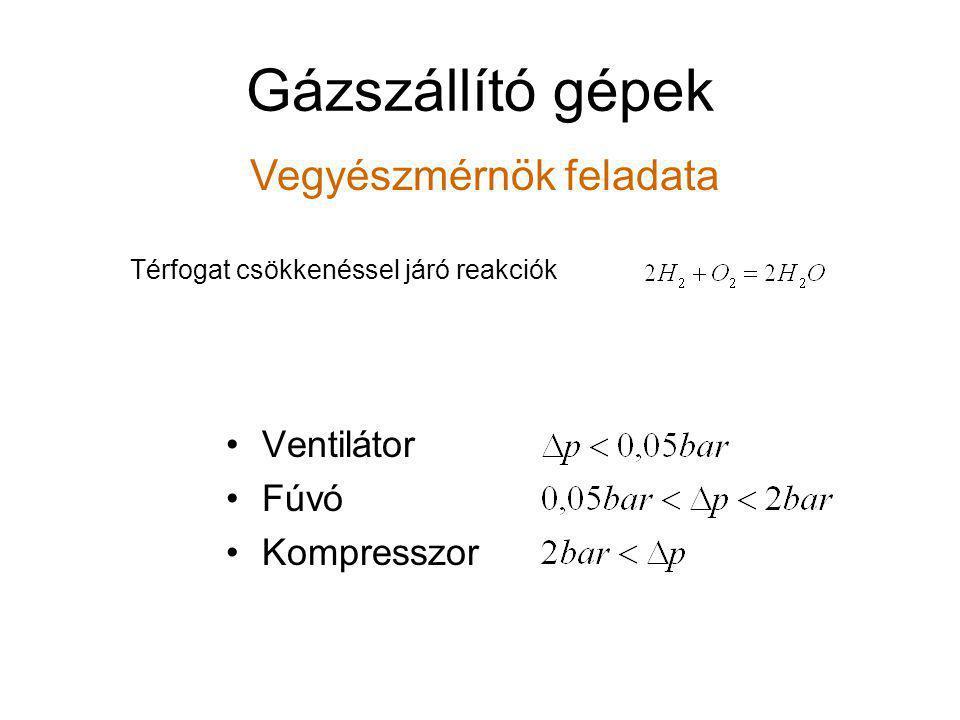 Dugattyús kompresszor paraméterei Izoterm kompresszió munkája: Izoterm kompresszió teljesítménye: Adiabatikus kompresszió teljesítménye: Térfogatáram:Tömegáram: Töltési fok:
