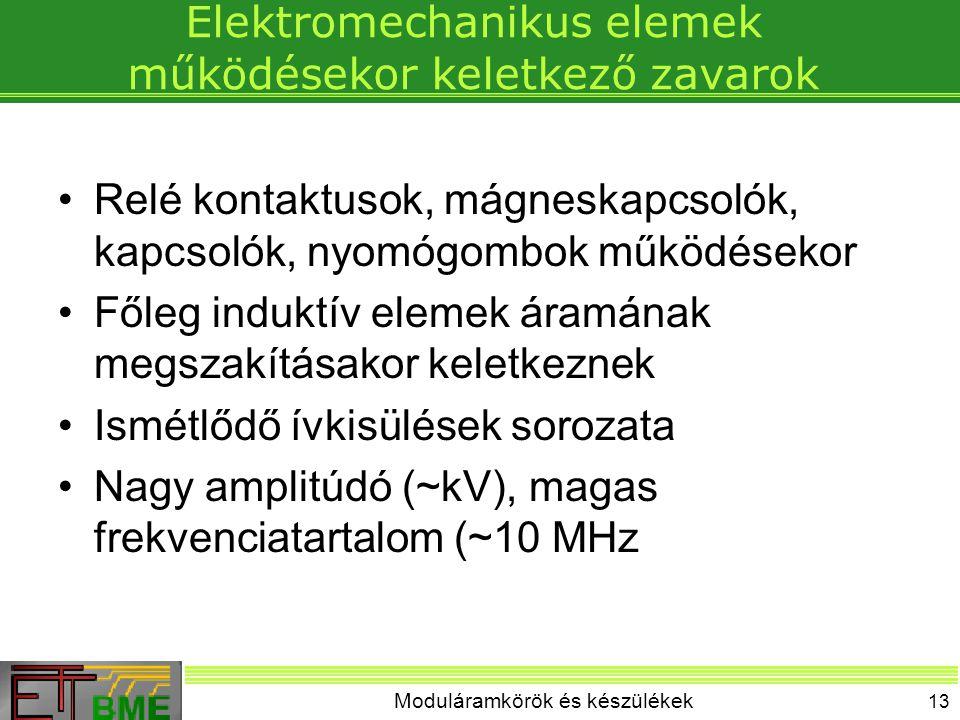 Moduláramkörök és készülékek 13 Elektromechanikus elemek működésekor keletkező zavarok Relé kontaktusok, mágneskapcsolók, kapcsolók, nyomógombok működ