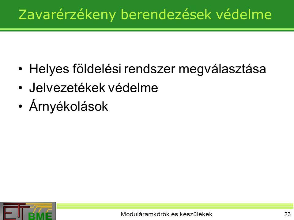Moduláramkörök és készülékek 23 Zavarérzékeny berendezések védelme Helyes földelési rendszer megválasztása Jelvezetékek védelme Árnyékolások