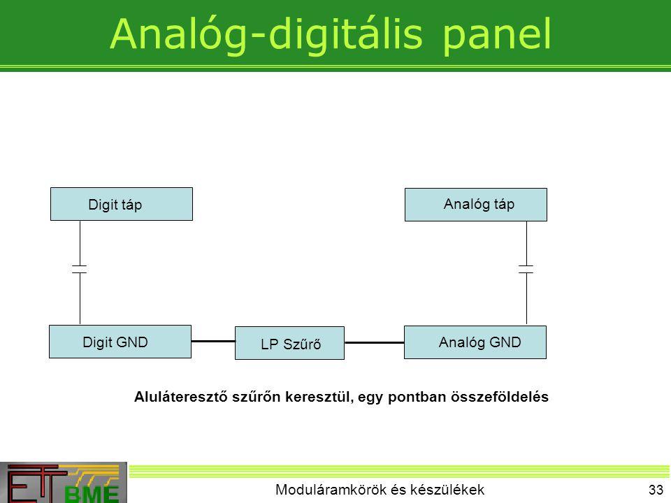 Moduláramkörök és készülékek 33 Analóg-digitális panel Digit GNDAnalóg GND LP Szűrő Digit táp Analóg táp Aluláteresztő szűrőn keresztül, egy pontban ö