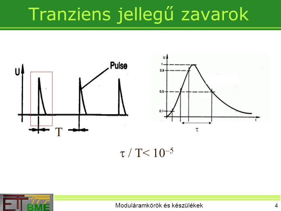Moduláramkörök és készülékek 4 Tranziens jellegű zavarok T   /  T<  