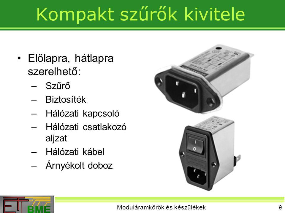 Moduláramkörök és készülékek 9 Kompakt szűrők kivitele Előlapra, hátlapra szerelhető: –Szűrő –Biztosíték –Hálózati kapcsoló –Hálózati csatlakozó aljza