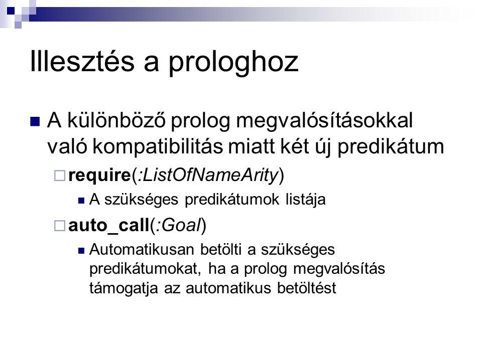 Illesztés a prologhoz A különböző prolog megvalósításokkal való kompatibilitás miatt két új predikátum  require(:ListOfNameArity) A szükséges predikátumok listája  auto_call(:Goal) Automatikusan betölti a szükséges predikátumokat, ha a prolog megvalósítás támogatja az automatikus betöltést