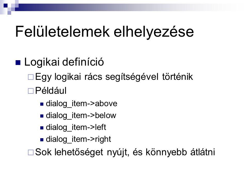 Felületelemek elhelyezése Logikai definíció  Egy logikai rács segítségével történik  Például dialog_item->above dialog_item->below dialog_item->left