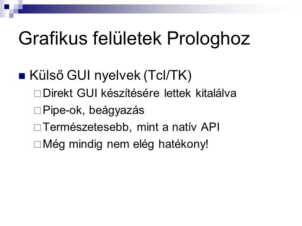 Grafikus felületek Prologhoz Prologban megvalósított GUI (XPCE)  Természetes adatreprezentáció  Kicsi overhead  Ahol fut a prolog ott fut a GUI is  Objektum-orientált mag  Prolog könyvtár!