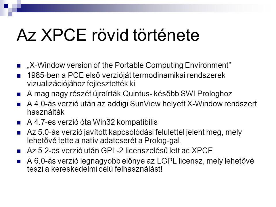 """Az XPCE rövid története """"X-Window version of the Portable Computing Environment 1985-ben a PCE első verzióját termodinamikai rendszerek vizualizációjához fejlesztették ki A mag nagy részét újraírták Quintus- később SWI Prologhoz A 4.0-ás verzió után az addigi SunView helyett X-Window rendszert használták A 4.7-es verzió óta Win32 kompatibilis Az 5.0-ás verzió javított kapcsolódási felülettel jelent meg, mely lehetővé tette a natív adatcserét a Prolog-gal."""