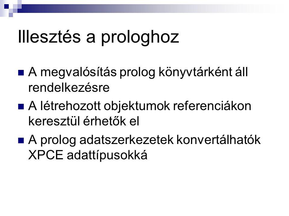 Illesztés a prologhoz A megvalósítás prolog könyvtárként áll rendelkezésre A létrehozott objektumok referenciákon keresztül érhetők el A prolog adatszerkezetek konvertálhatók XPCE adattípusokká