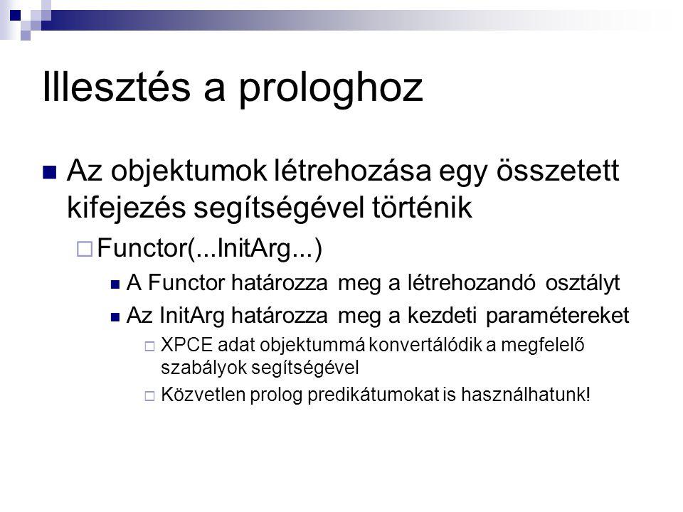 Illesztés a prologhoz Az objektumok létrehozása egy összetett kifejezés segítségével történik  Functor(...InitArg...) A Functor határozza meg a létrehozandó osztályt Az InitArg határozza meg a kezdeti paramétereket  XPCE adat objektummá konvertálódik a megfelelő szabályok segítségével  Közvetlen prolog predikátumokat is használhatunk!